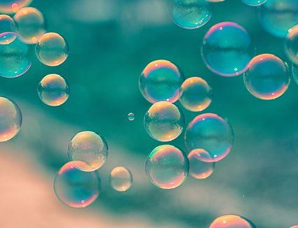 close-up of soap bubbles