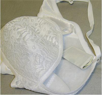 A photo of a finished removable money hiding bra pocket.