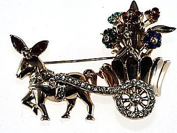 Ca. late 1940s Corocraft Donkey Cart Brooch