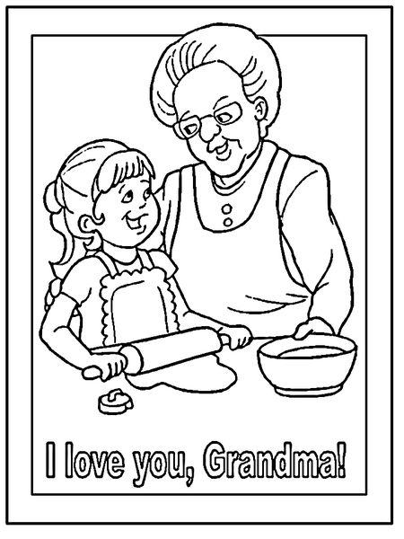 DLTKs Grandparents Day Coloring Pages A Granddaughter Cooking With Her Grandmother