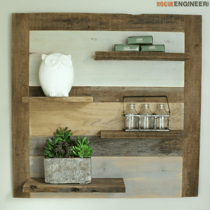 Picture of a wooden scrap wood shelf