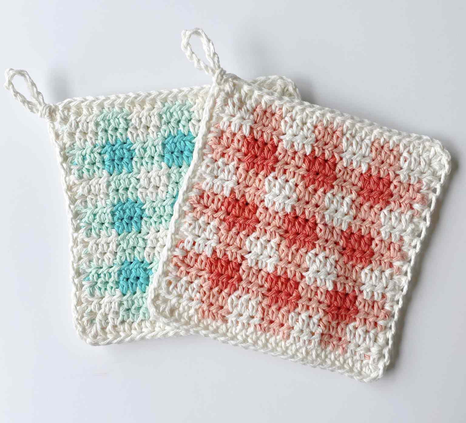 Crochet Picnic Gingham Hot Pad Pattern