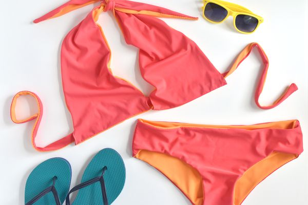 Two-Piece Reversible Swimsuit With Sunglasses and Flip Flops