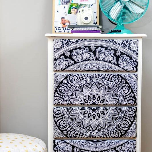 tapestry decoupaged dresser