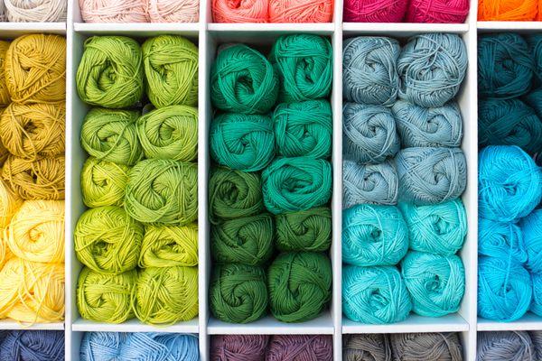yarn organized on shelves