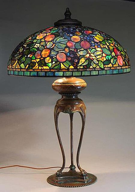 9ce7a16d74f4 Reproduction Tiffany Lamp with Fruit Shade Sold for  5