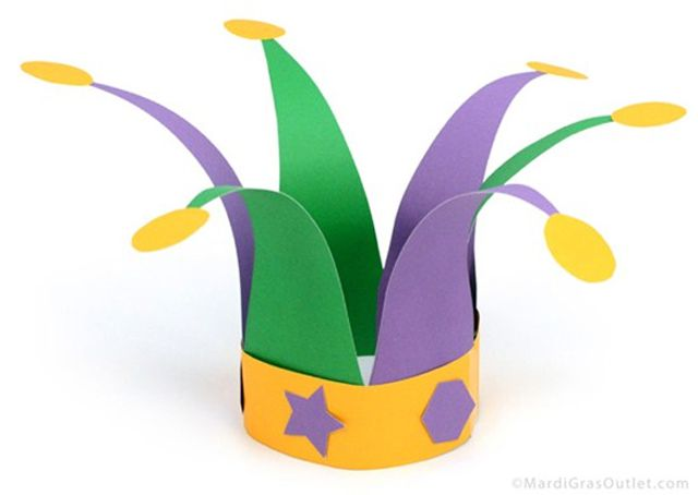 A Paper Jester Hat for Mardi Gras