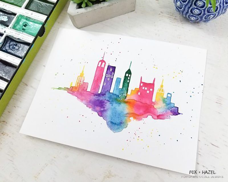 A watercolor painting of a city skyline