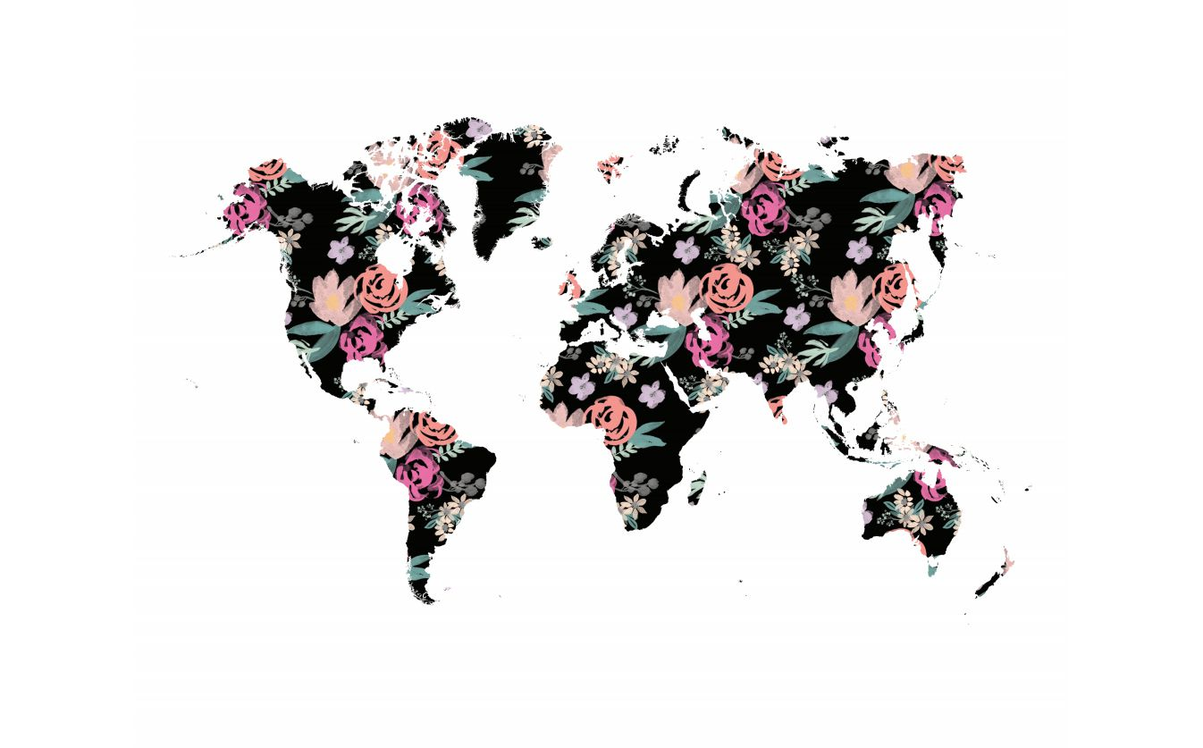A map of the world in floral