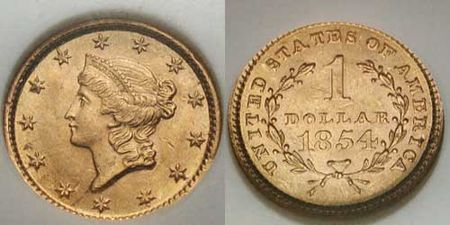 1854 Type I Liberty Head U S Gold Dollar