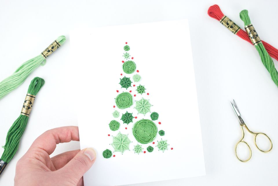 Embroidered Polka Dot Tree Christmas Card