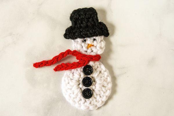 A crocheted snowman