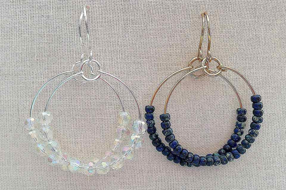 Bead dazzling hoop earrings in silver with crystal beads and gold with blue beads