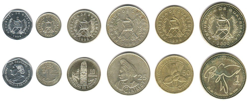 These coins are currently circulating in Guatemala as money.