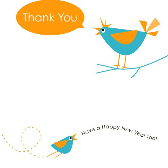a bue and orange bird on a new years card