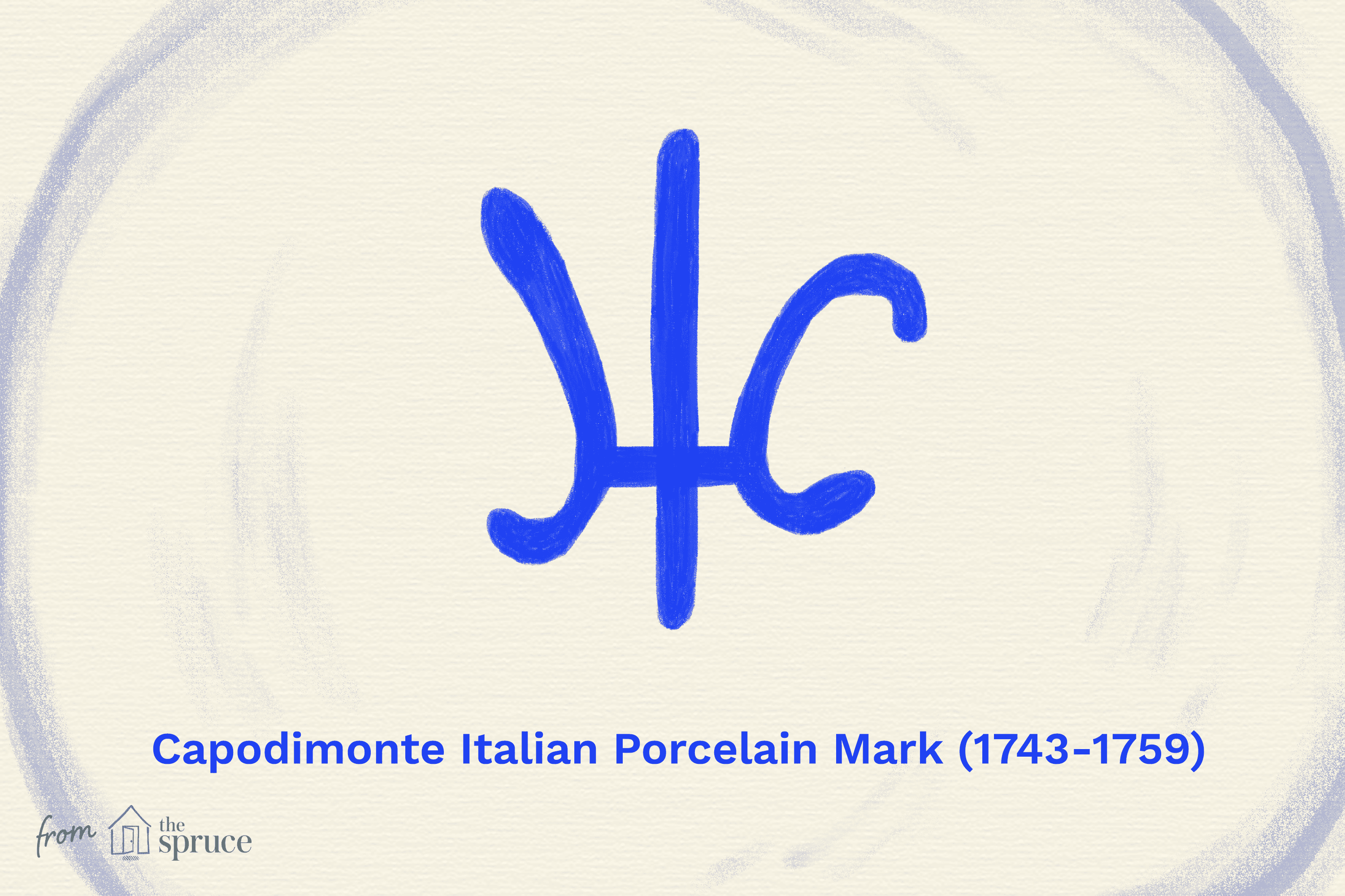 illustration of capodimonte italian porcelain mark 1743-1759