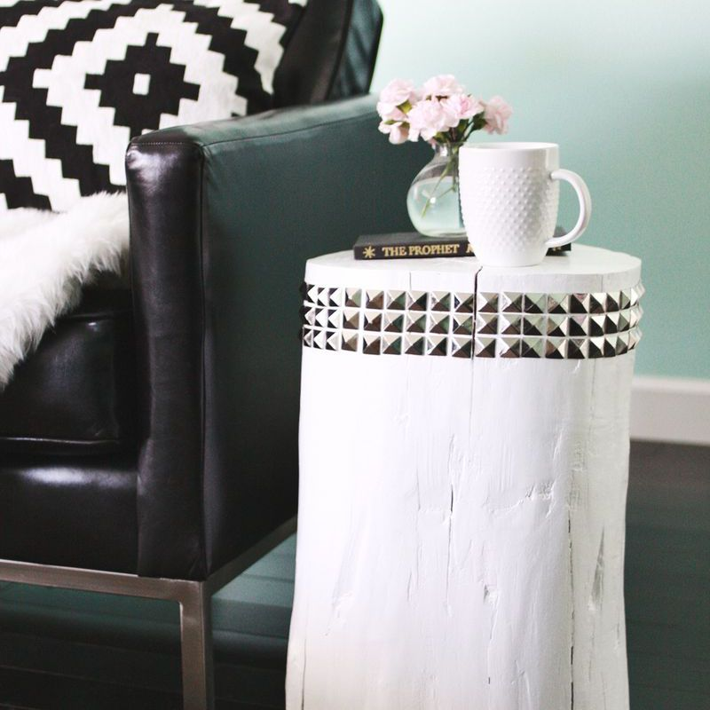 DIY Studded Tree Stump Side Table