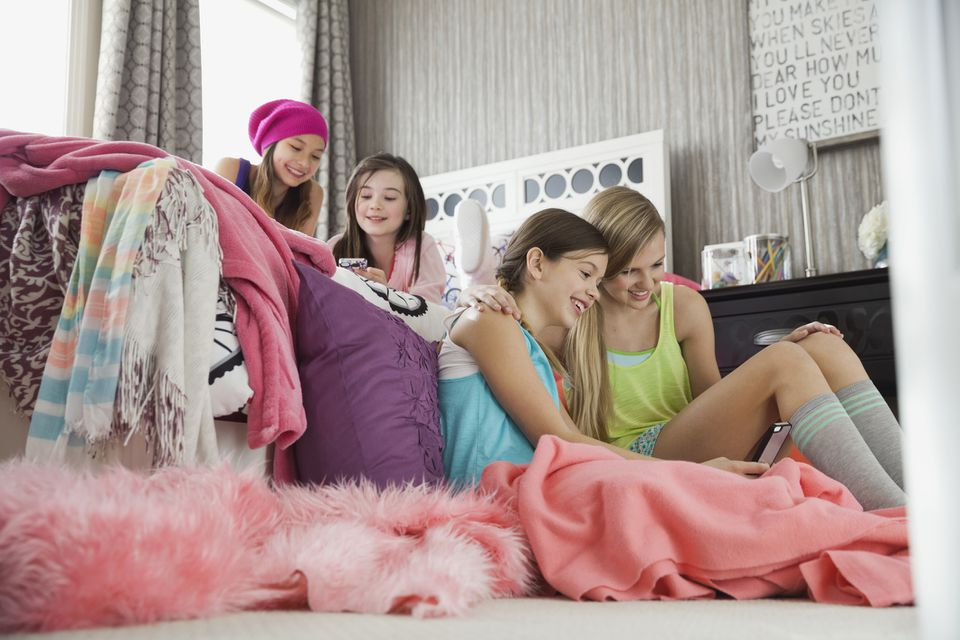 Girls at a sleepover party