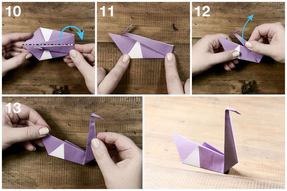 Steps 10 through 10 of folding an origami swan, including creating the base.