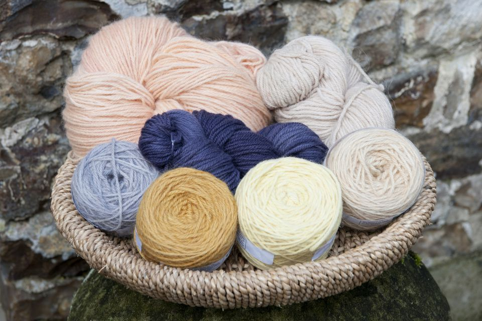 Balls of Naturally-Dyed Wool in Basket
