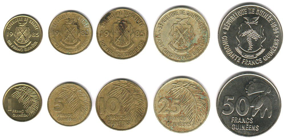 These coins are currently circulating in Guinea as money.