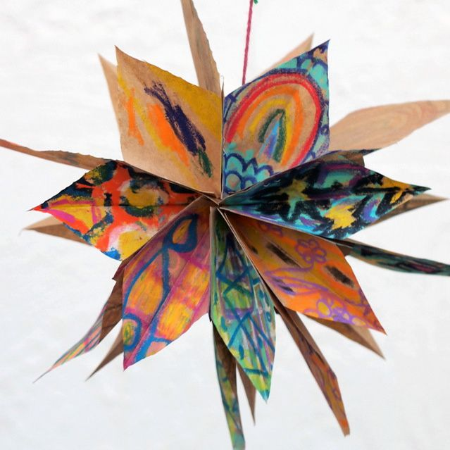 crayon colored paper bag star