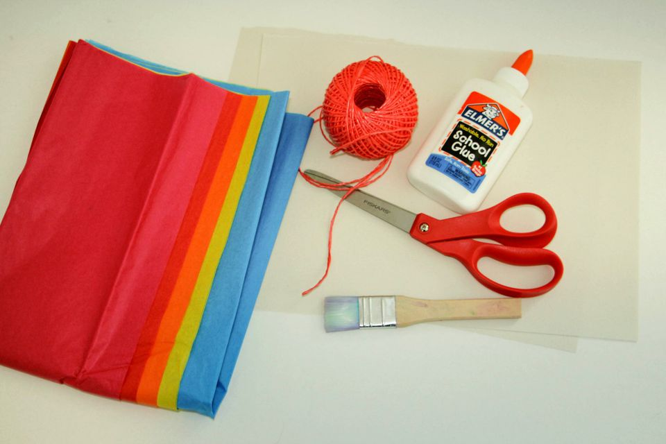 Supplies for Tissue Paper Windsock Craft