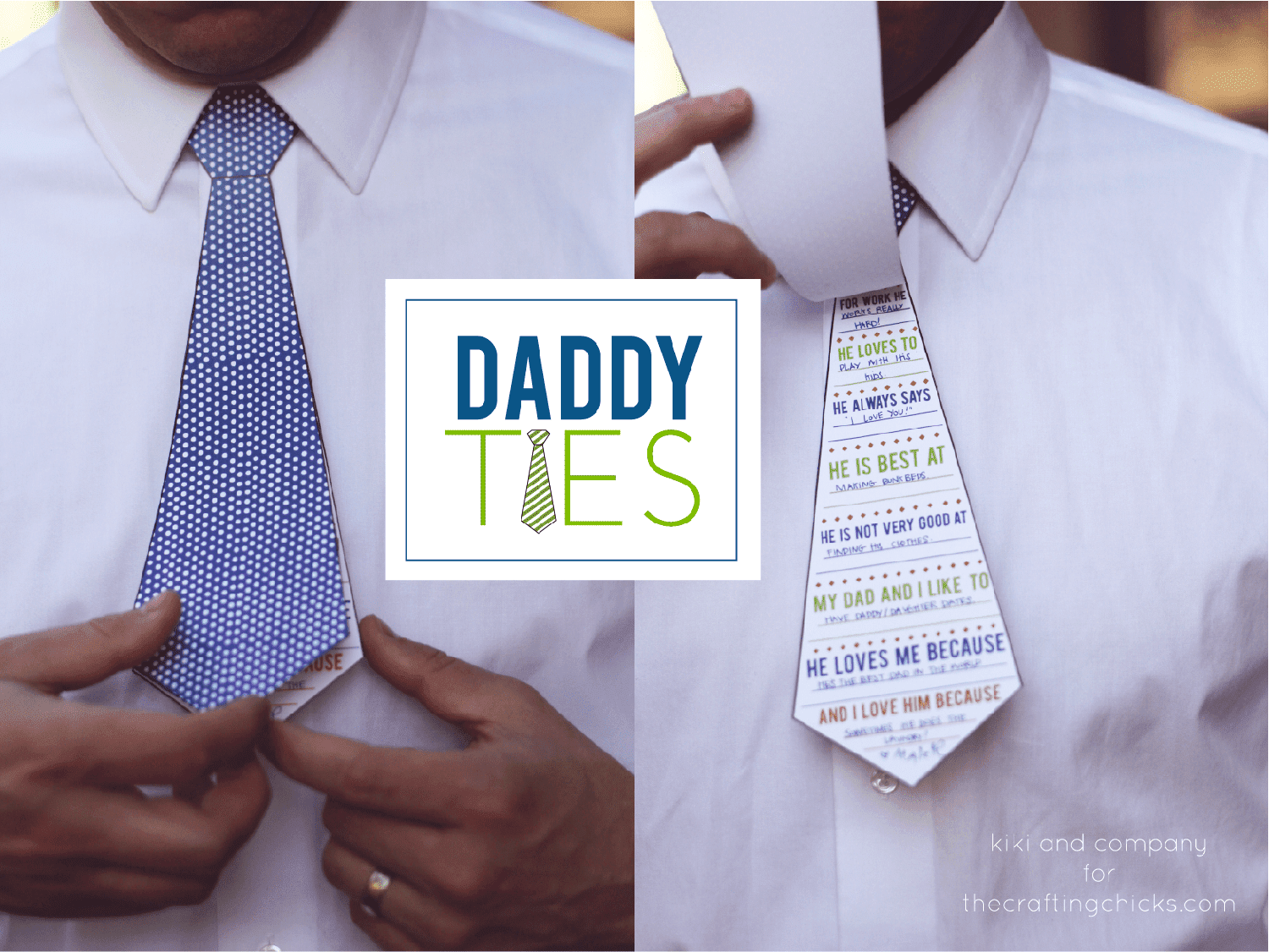 A Man Wearing a Father's Day Card That Doubles as a Tie