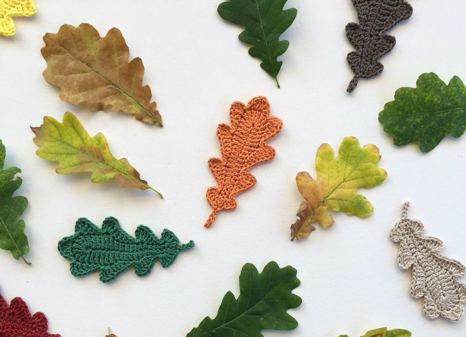Oak leaves with crochet version