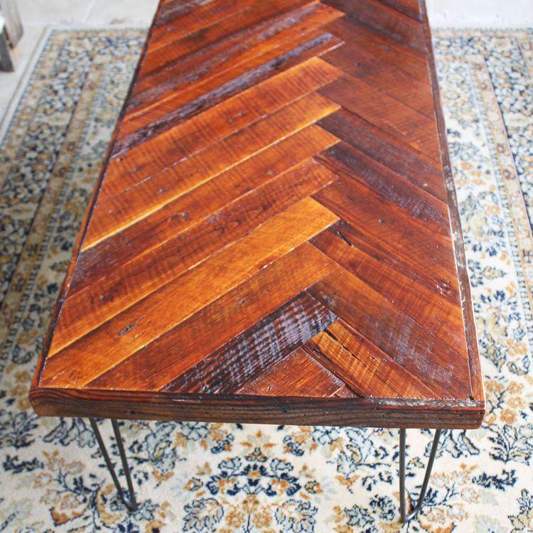 DIY Wood Herringbone Coffee Table with Hairpin Legs