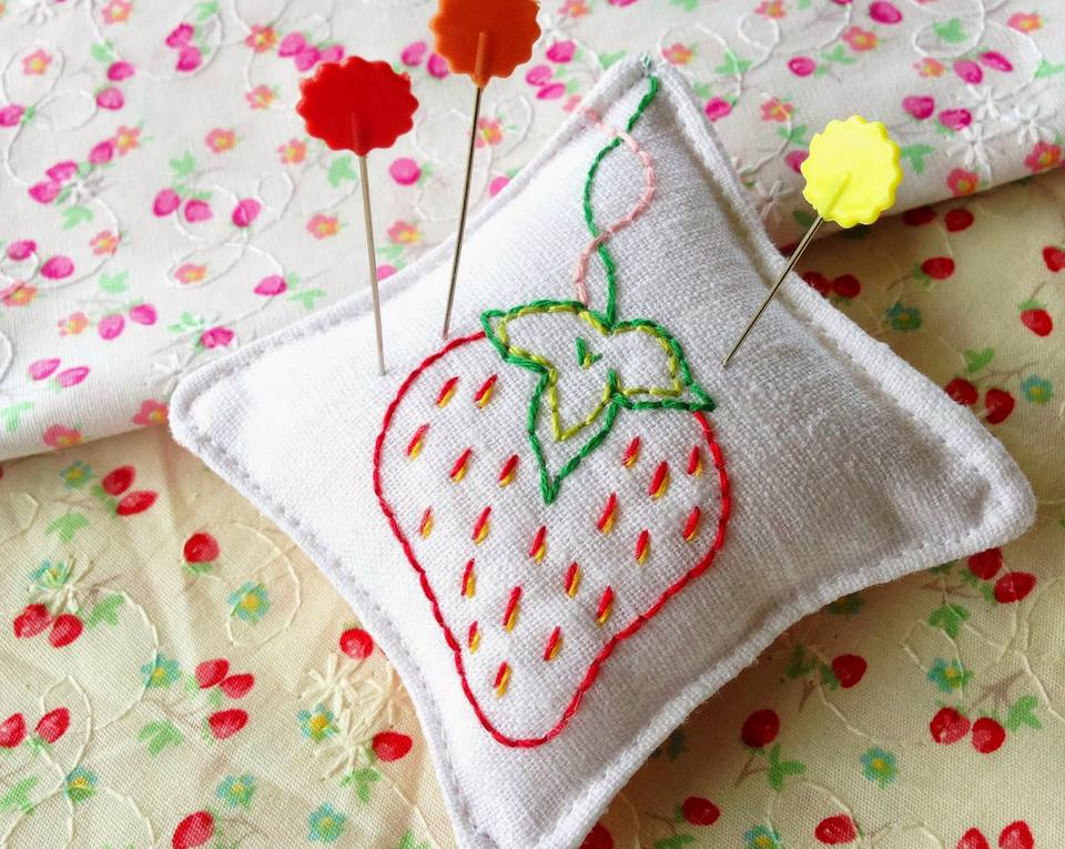 Easy Embroidered Strawberry Pincushion
