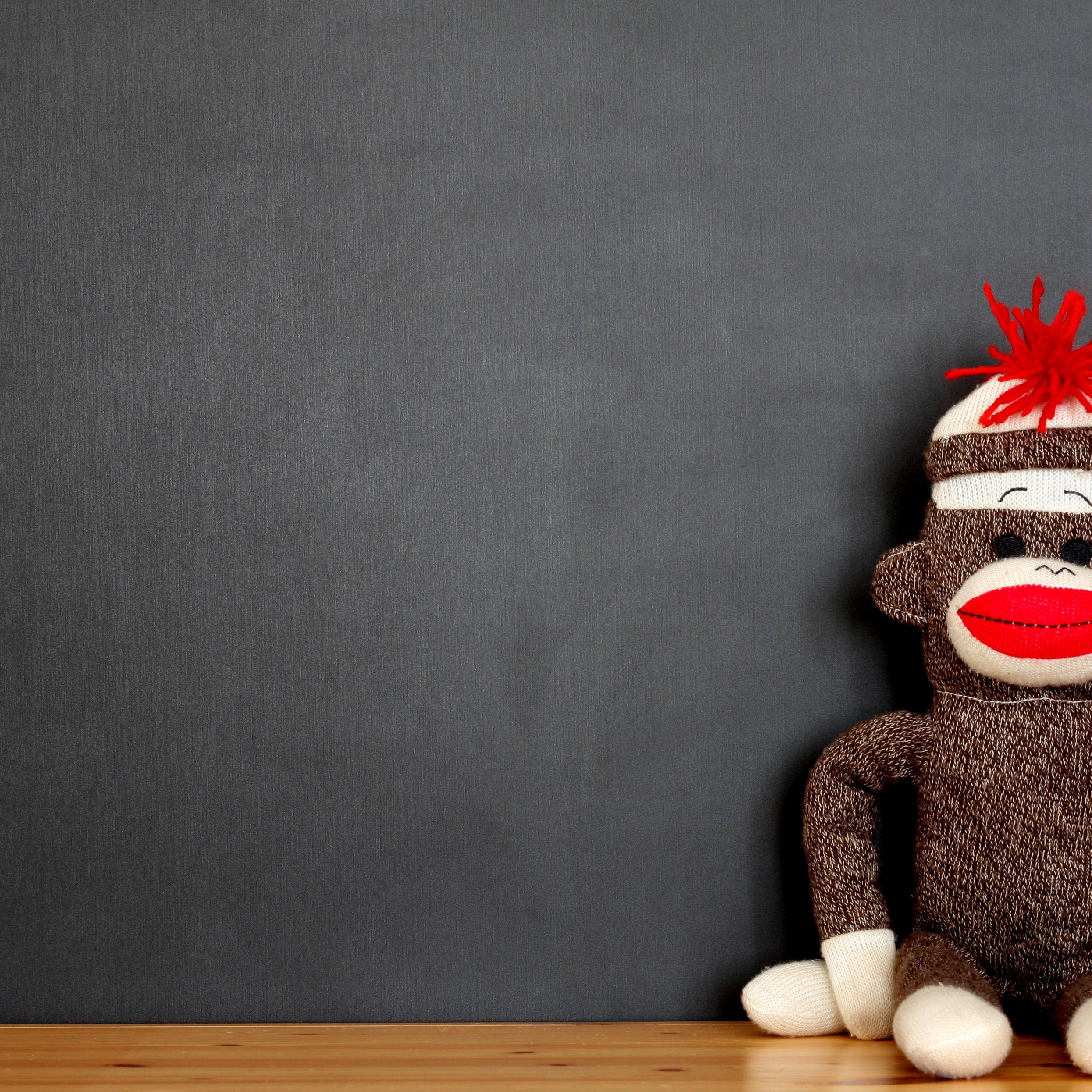 Striped Sock Monkey -Black Sock Monkey-Striped- Monkey Stuffed Animal Unisex Sock Monkey Striped Stuffed Animal White Monkey Plush