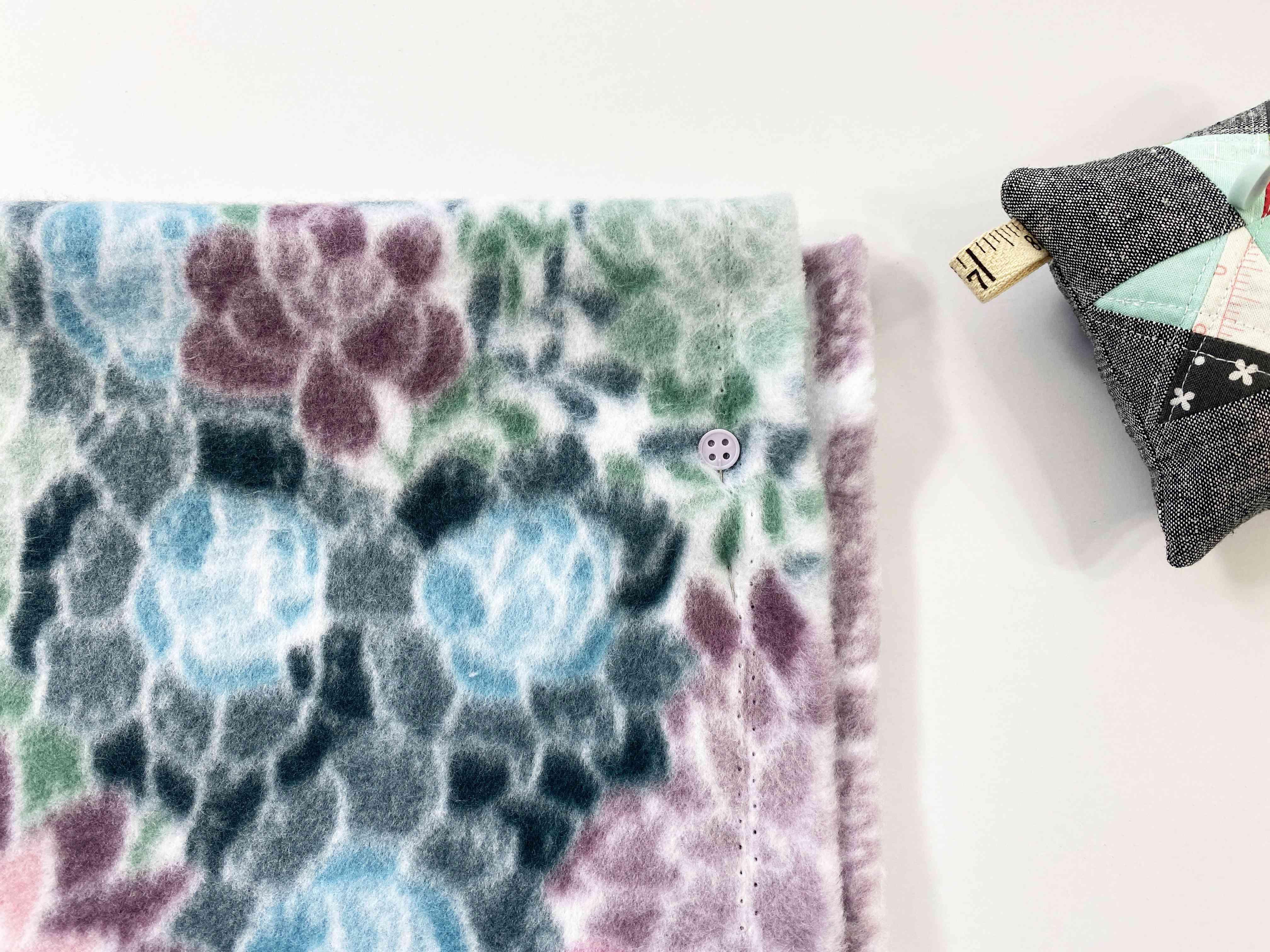 Fleece fabric and a pin cushion