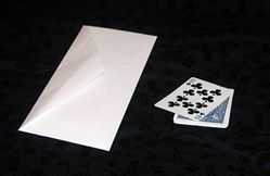 White envelope with two playing cards.