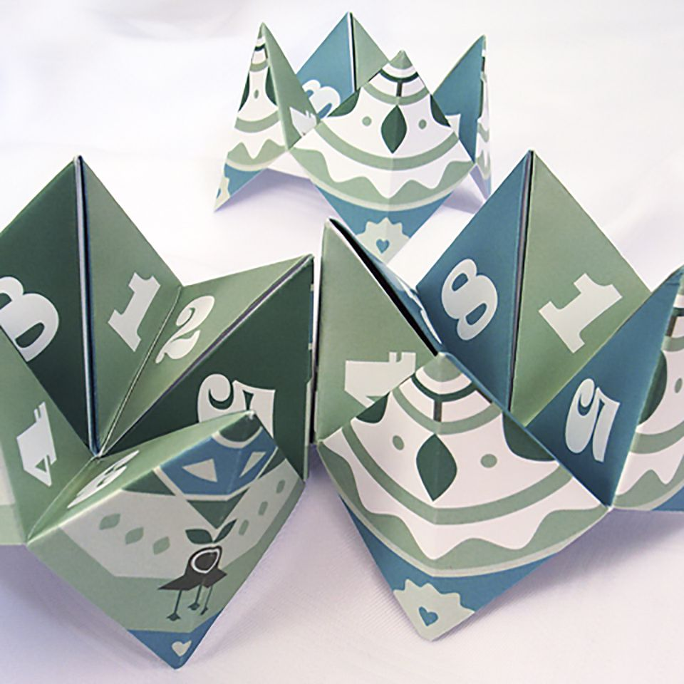 10 Creative Printable Cootie Catchers Origami Christmas Bird Feeder Diagram