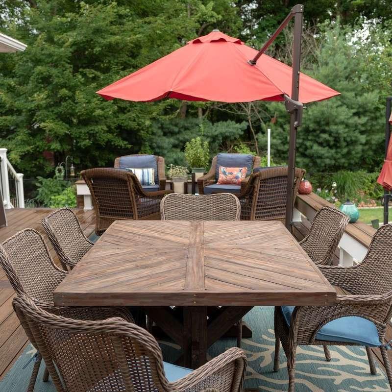An outdoor farmhouse table