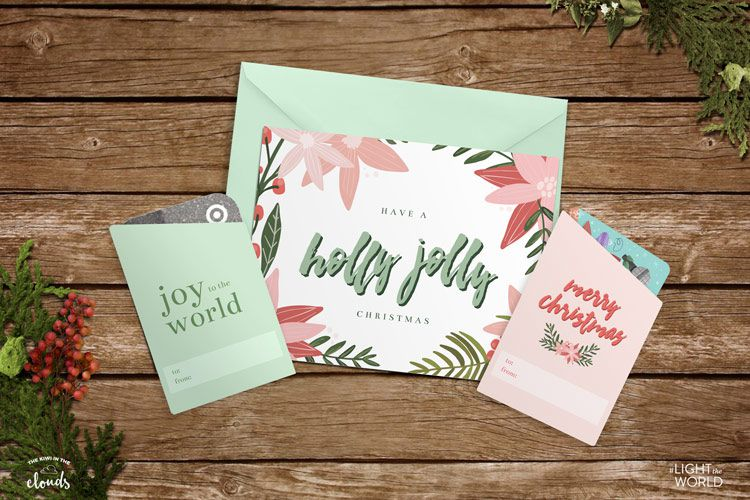 A Christmas card and two gift card sleeves