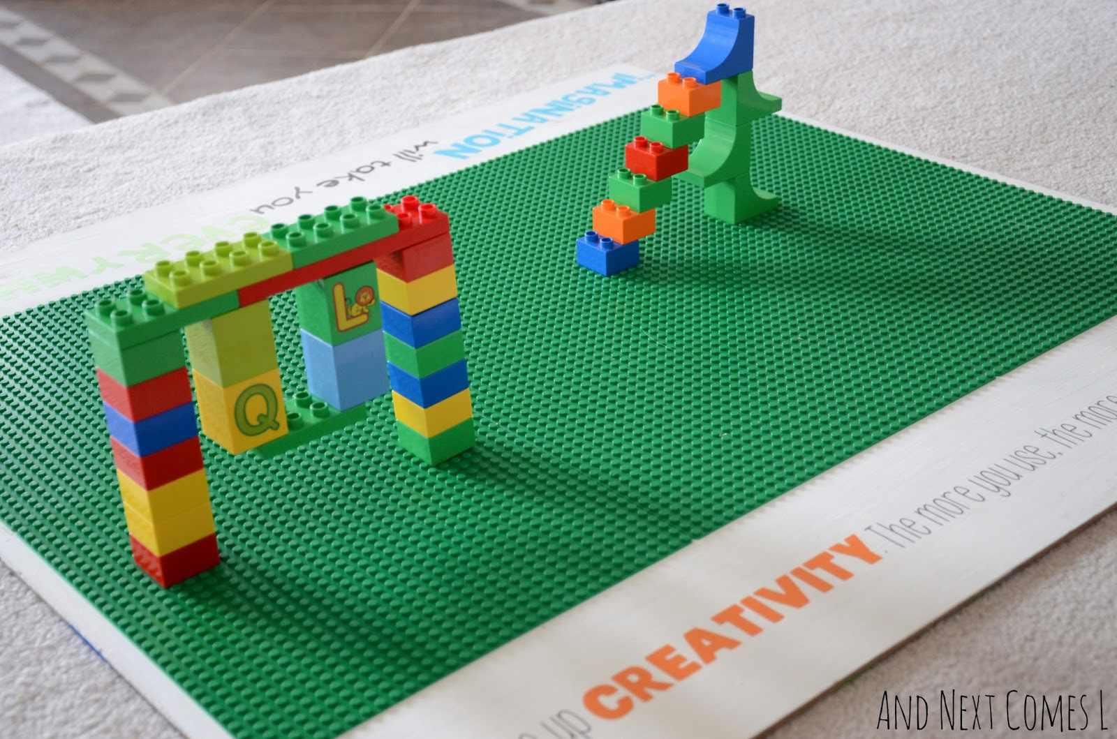 A LEGO board on the floor