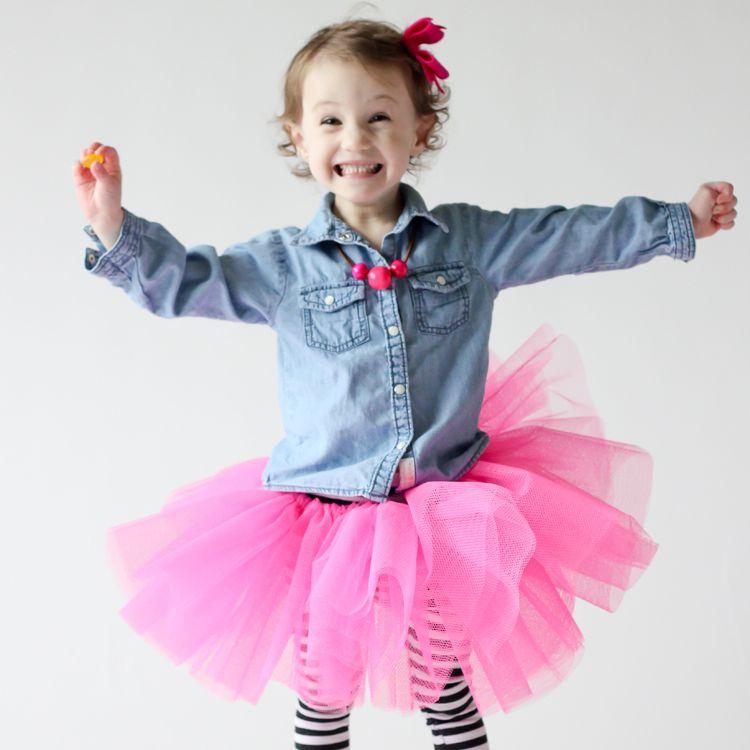 Child wearing pink tutu