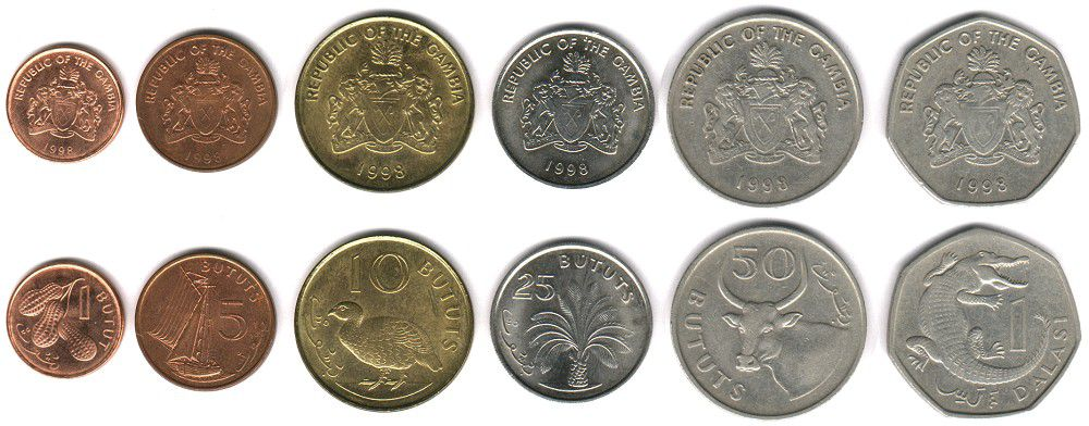 These coins are currently circulating in the Gambia as money.