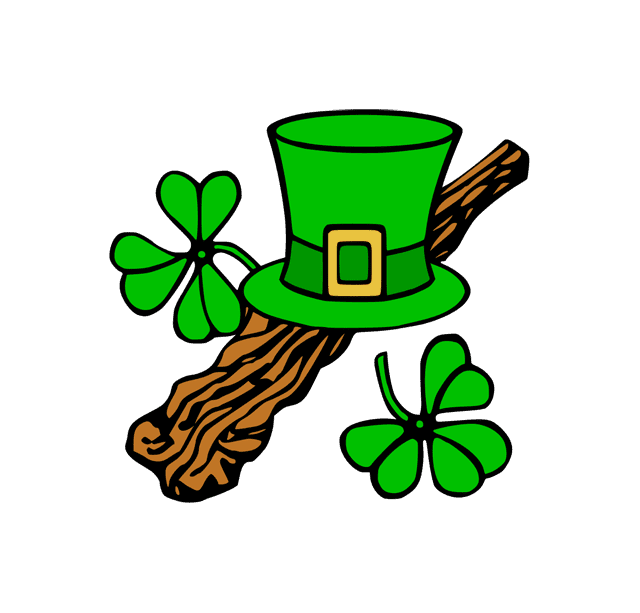 A top hat and shamrocks
