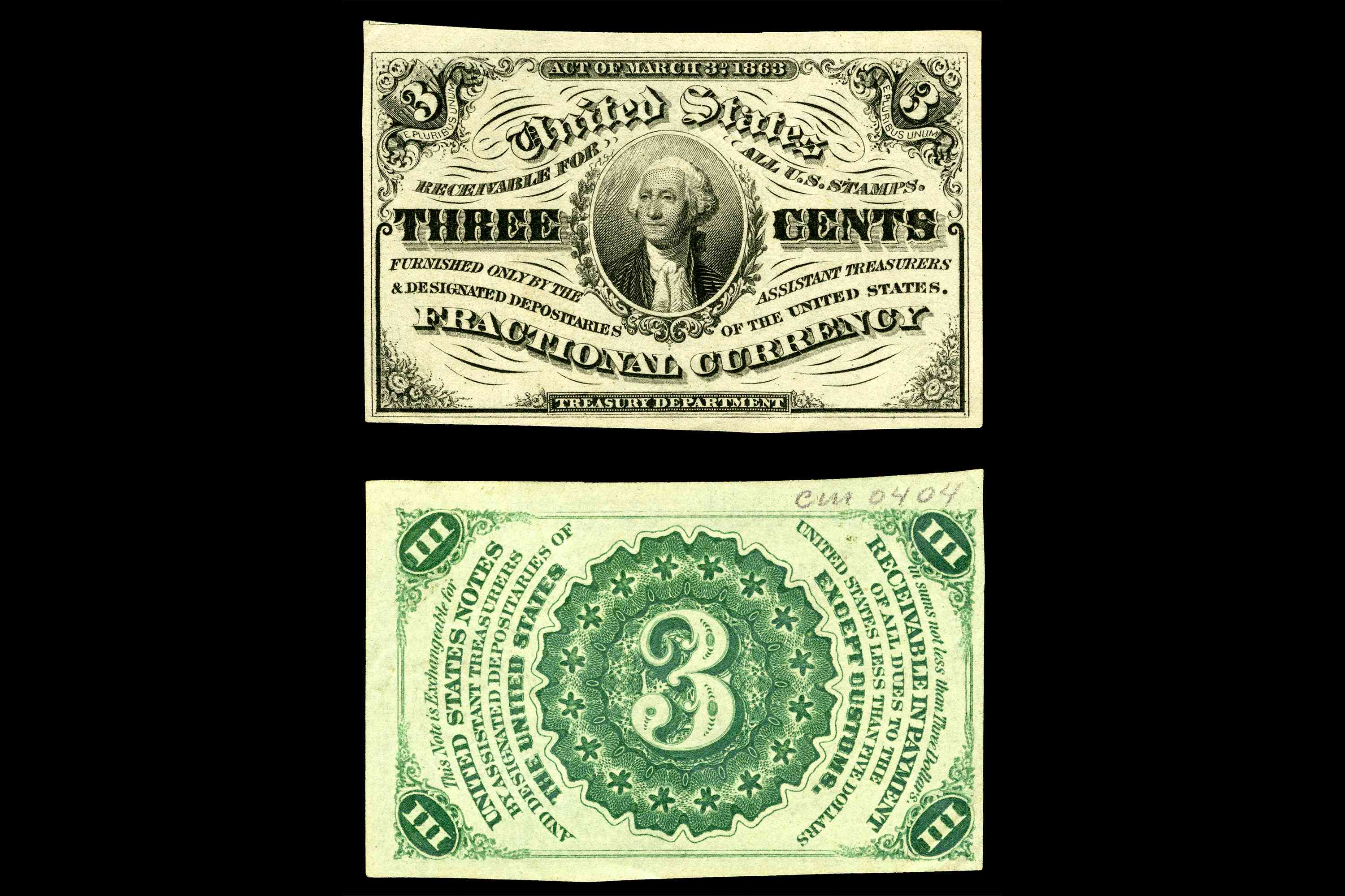 United States Fractional Currency Third Issue Three Cent Note