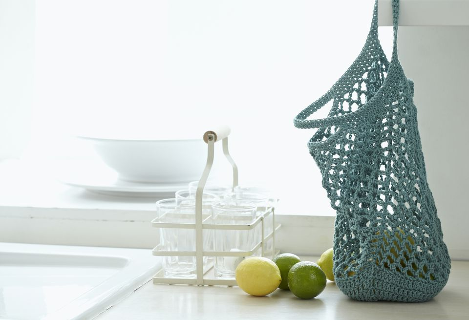 Crochet Market Bag in Kitchen