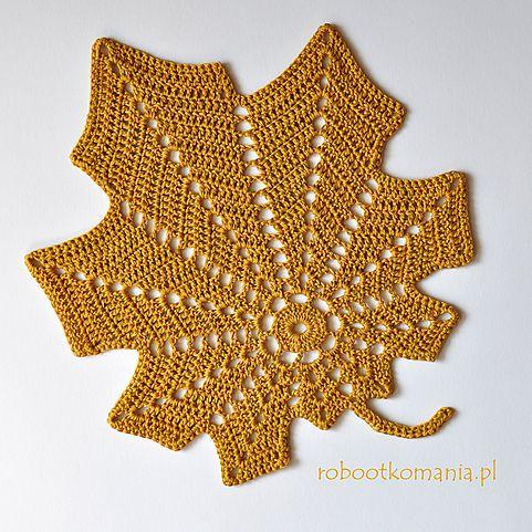 Large autumn leaf crochet
