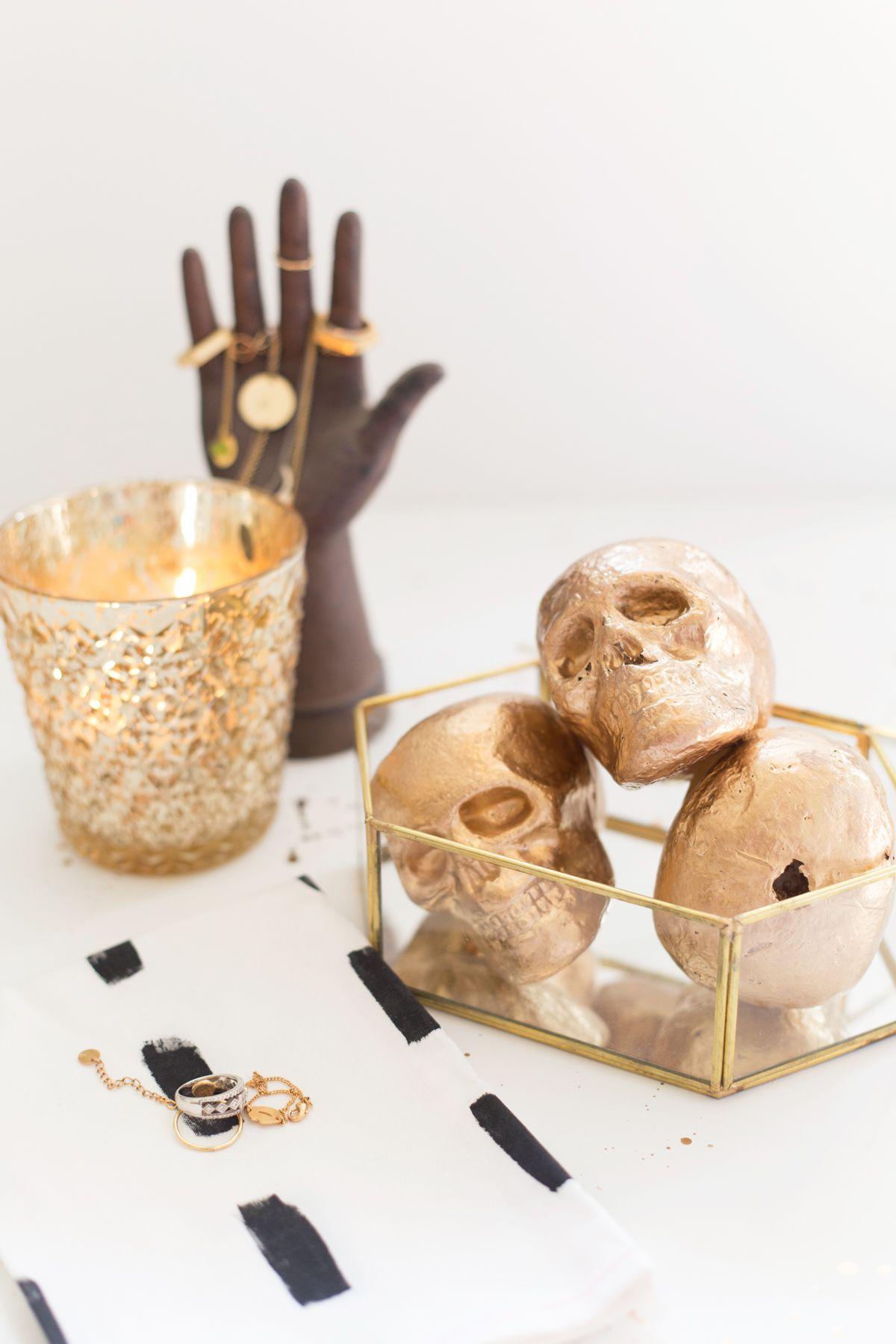 DIY Decorative Gold Skulls