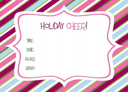 a pink blue and green striped holiday party invite