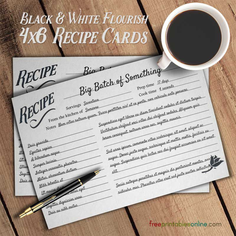 Black and white recipe cards with a cup of coffee