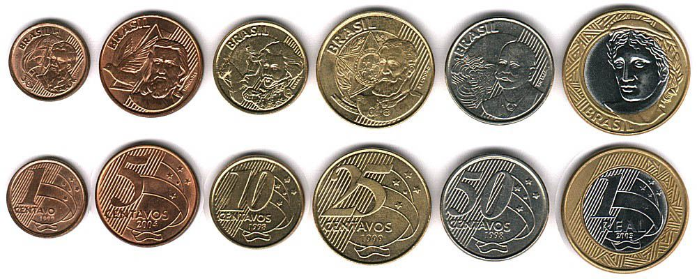 These coins are currently circulating in Brazil as money.