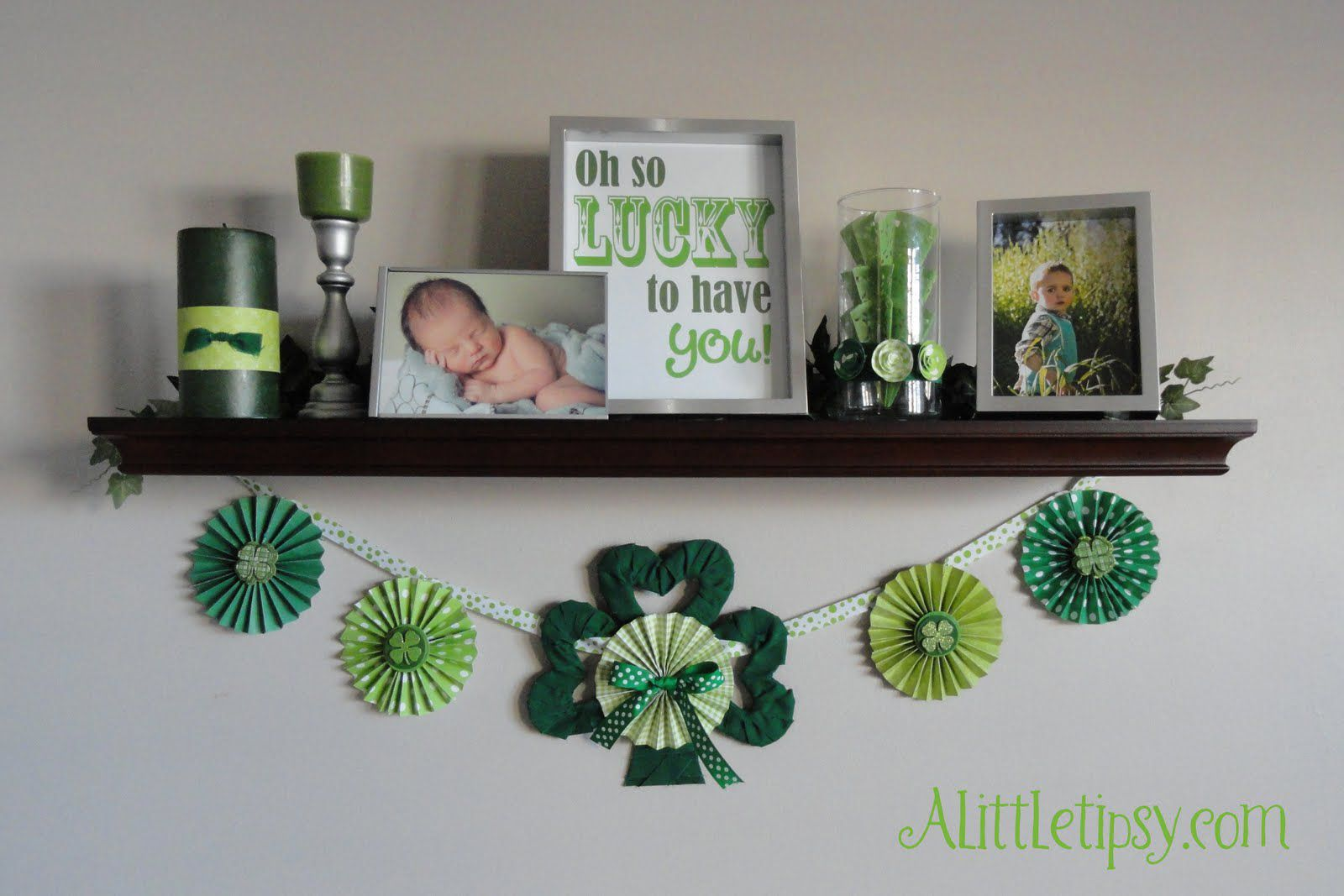A mantle with free St. Patrick's Day printables