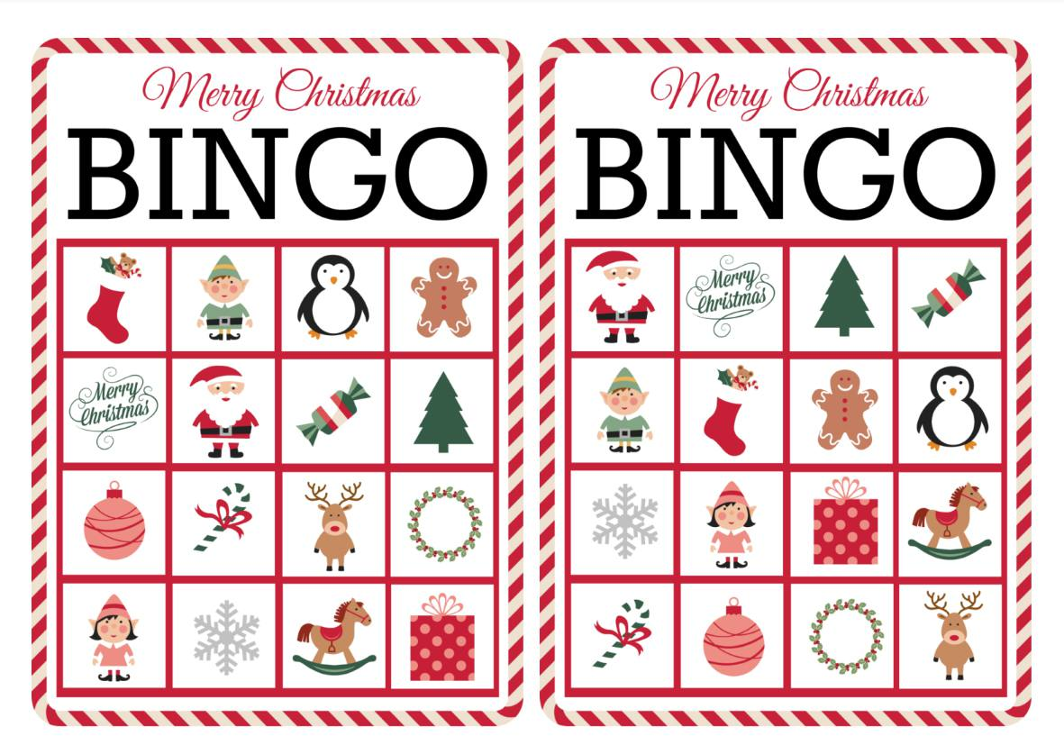 Two colorful Christmas bingo cards.